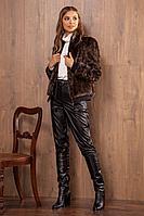 Женская осенняя с мехом коричневая куртка Nova Line 10135 42р.