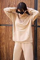 Женское осеннее трикотажное бежевое спортивное большого размера худи AURA of the day 2001 беж 42р.