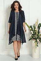 Женский осенний шифоновый синий нарядный большого размера комплект с платьем Solomeya Lux 426А-737_2 50р.
