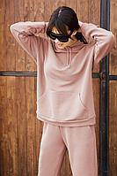 Женское осеннее трикотажное розовое спортивное большого размера худи AURA of the day 2001 пудра 42р.