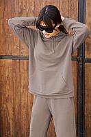Женское осеннее трикотажное серое спортивное большого размера худи AURA of the day 2001 светло-серый 42р.