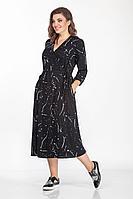 Женское осеннее из вискозы черное большого размера платье Anna Majewska 1395 черно-белый 44р.