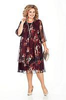 Женское осеннее шифоновое нарядное большого размера платье Pretty 242 бордо_цветы 50р.