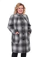 Женское осеннее драповое серое деловое пальто БелЭльСтиль 786 серый-клетка 44р.