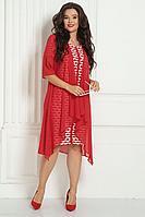 Женский осенний шифоновый красный нарядный большого размера комплект с платьем Solomeya Lux 426А-737_1 50р.