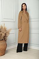 Женское осеннее драповое бежевое пальто SandyNa 13814 песочно-коричневый 46р.