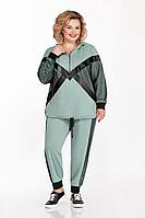 Женский осенний трикотажный бирюзовый спортивный большого размера спортивный костюм Pretty 1152 мята 56р.