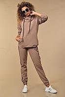 Женский осенний трикотажный бежевый спортивный большого размера спортивный костюм Сч@стье 7111-10 56р.