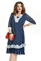 Женское осеннее шифоновое синее нарядное большого размера платье TEZA 690 синий 48р.