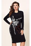 Женское осеннее трикотажное черное большого размера платье Vittoria Queen 12453 50р.