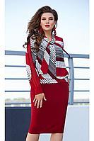 Женское осеннее красное нарядное большого размера платье Vittoria Queen 12183 50р.