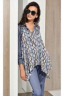 Женская осенняя трикотажная голубая блуза Condra 16081 42р.