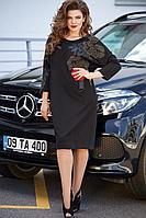 Женское осеннее трикотажное черное нарядное большого размера платье Vittoria Queen 11623 черный 52р.