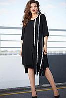 Женский осенний шифоновый черный нарядный большого размера комплект с платьем Vittoria Queen 11583 50р.