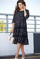 Женское осеннее шифоновое синее нарядное большого размера платье Vittoria Queen 11873 50р.