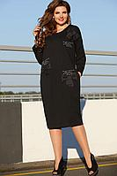 Женское осеннее трикотажное черное нарядное большого размера платье Vittoria Queen 12163 52р.