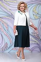Женский осенний шифоновый зеленый большого размера комплект с платьем Ninele 2268 изумруд 56р.