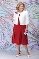 Женский осенний шифоновый красный большого размера комплект с платьем Ninele 2268 красный 56р.