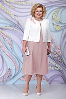 Женский осенний шифоновый розовый большого размера комплект с платьем Ninele 2268 пудра 56р.