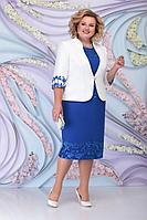 Женский осенний шифоновый синий нарядный большого размера комплект с платьем Ninele 7299 василек 54р.