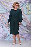 Женское осеннее шифоновое зеленое нарядное большого размера платье Ninele 7300 изумруд 56р.