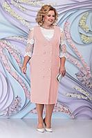Женский осенний кружевной розовый нарядный большого размера комплект с платьем Ninele 7303 пудра 52р.