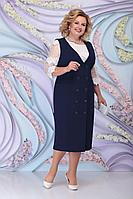 Женский осенний кружевной синий нарядный большого размера комплект с платьем Ninele 7303 синий 52р.