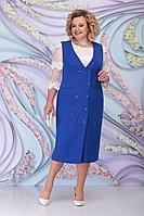 Женский осенний кружевной синий нарядный большого размера комплект с платьем Ninele 7303 василек 52р.