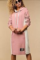 Женское осеннее хлопковое розовое платье Сч@стье 7107s 42р.