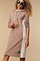 Женское осеннее хлопковое коричневое платье Сч@стье 7108s 42р.