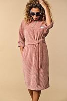 Женское осеннее розовое платье Сч@стье 7112s 42р.