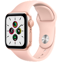 Apple Watch SE GPS, 44mm Gold Aluminium Case with Pink Sand Sport Band, фото 1