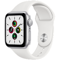 Apple Watch SE GPS, 44mm Silver Aluminium Case with White Sport Band, фото 1