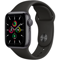 Apple Watch SE GPS, 44mm Space Gray Aluminium Case with Black Sport Band, фото 1