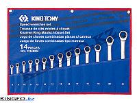 Набор комбинированных ключей с трещоткой14 пр KING TONY 12114MRN