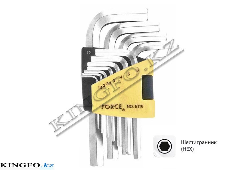 Набор Г-образных шестигранников 1.5-12 мм, 11пр. FORCE 5116