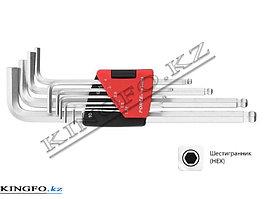 Набор Г-образных шестигранников 1.27-10 мм, с шаровым окончанием, 10 пр, FORCE 5102LB