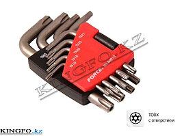Набор Г-образных ключей TORX, TS10-TS50, с отверстием 9 пр. FORCE 50913