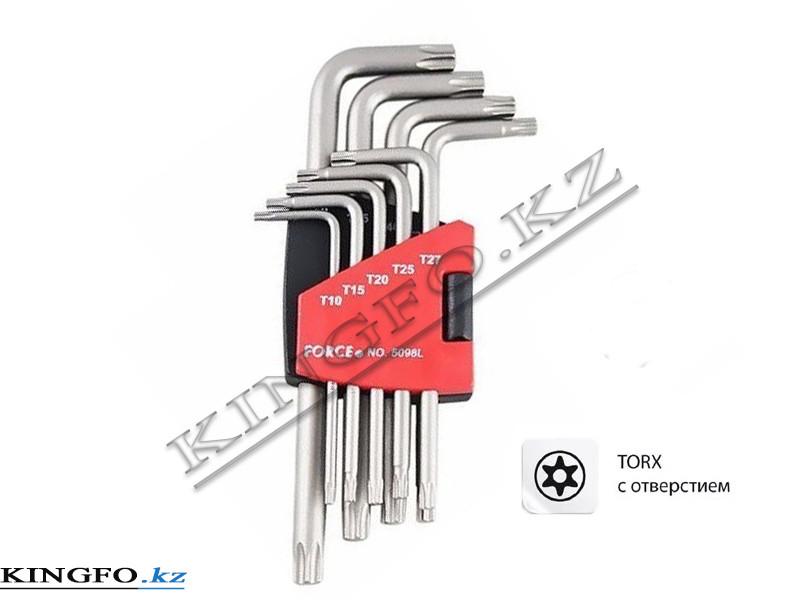 Набор Г-образных ключей TORX, T10H-T50H, с отверстием 9 пр. FORCE 5098LT