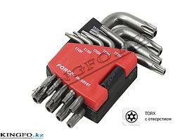 Набор Г-образных ключей TORX, T10H-T50H, с отверстием 9 пр. FORCE 5098T
