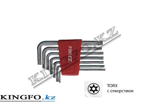 Набор Г-образных ключей TORX, T10H-T40H, с отверстием 7 пр. FORCE 5071T