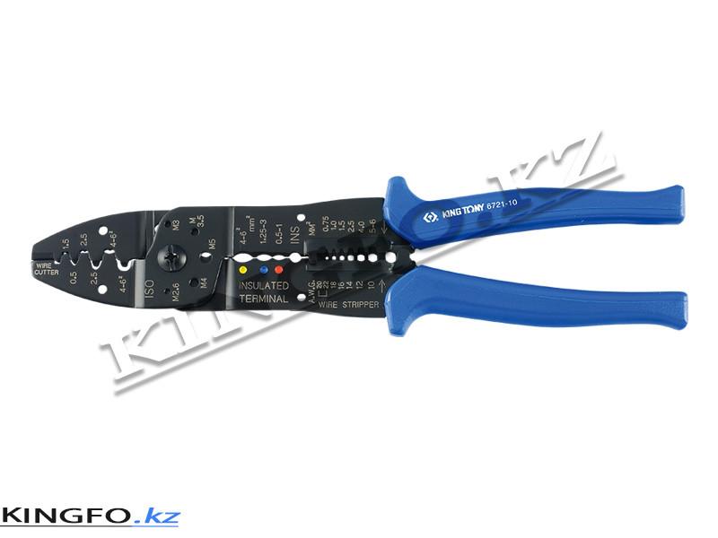 Пассатижи 250 мм, для зачистки изоляции и обжима контактов. KING TONY 6721-10