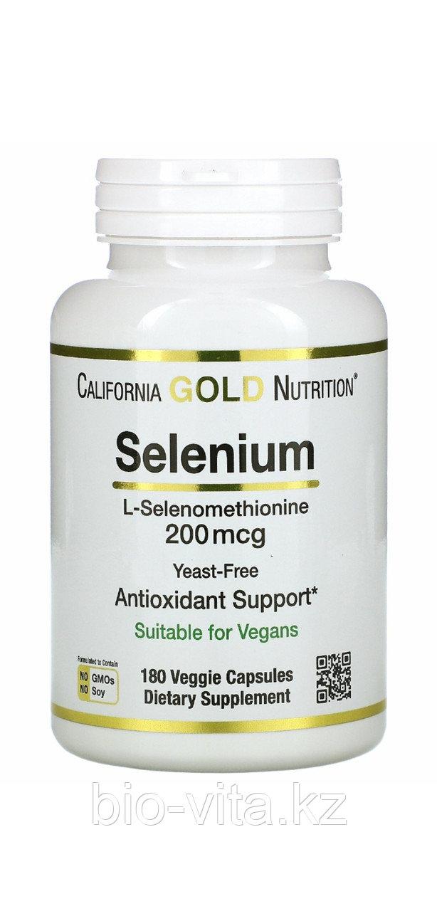 Селен 200 мкг, 180  таблеток. Бездрожжевой. California gold nutrition