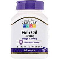 Рыбий жир, 1000 мг, 60 капсул, 21 century