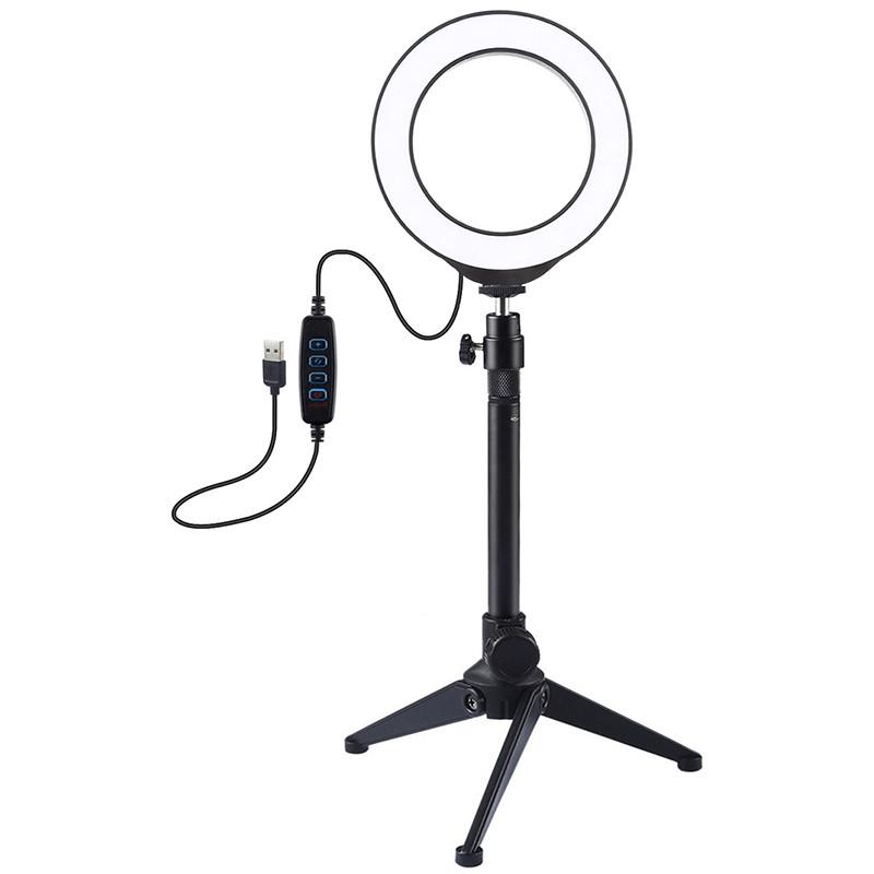 """Кольцевая USB LED лампа Puluz PKT3031 4.7"""" + настольный штатив"""