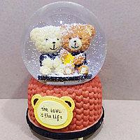 """Музыкальный снежный шар """"Две Мишки"""", 16см., фото 1"""