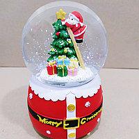 """Музыкальный снежный шар """"Дед Мороз на Ёлке"""", 16см."""