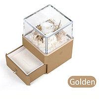 Вечная Роза, ювелирная коробочка премиум класса с Led подсветкой. Золотая
