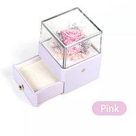 Вечная Роза, ювелирная коробочка премиум класса с Led подсветкой. Розовый