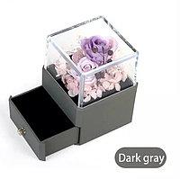 Вечная Роза, ювелирная коробочка премиум класса с Led подсветкой. Серый, фото 1